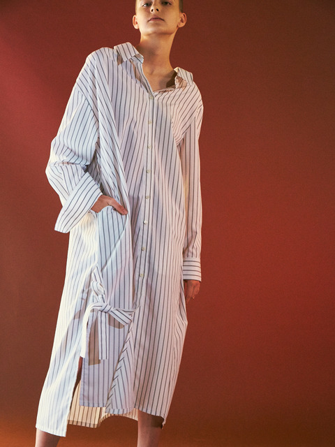 MAXI SHIRTS DRESS-WHITE STRIPE
