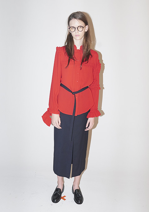UNEVEN FRILLED BLOUSE - RED