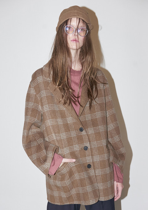 HANDMADE CHECK COAT - CAMEL CHECK