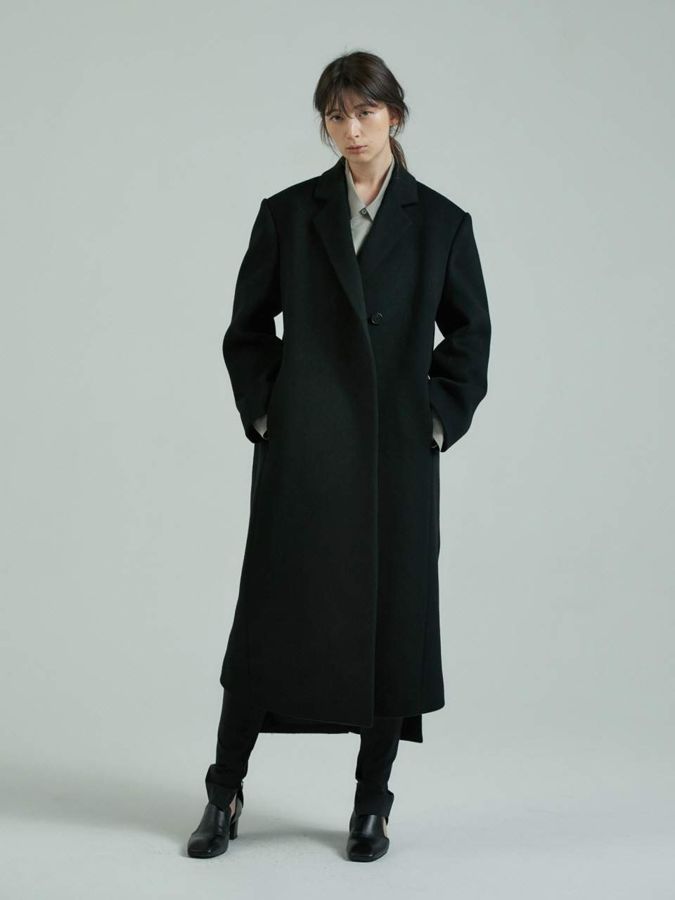 MEN'S MAXI COAT - BLACK