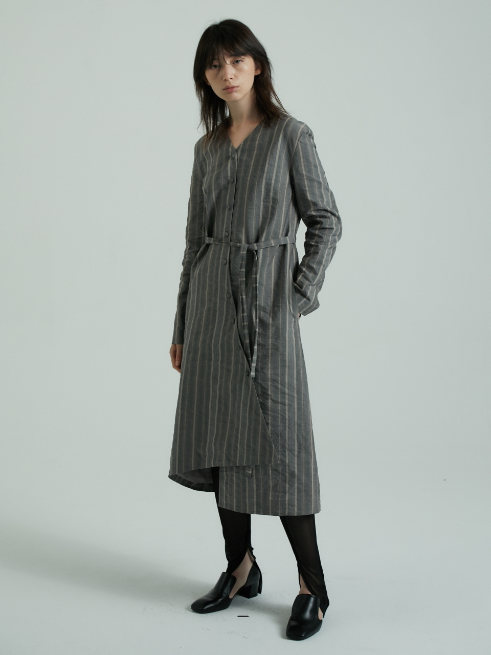 UNEVEN CUT COAT DRESS -BROWN STRIPE
