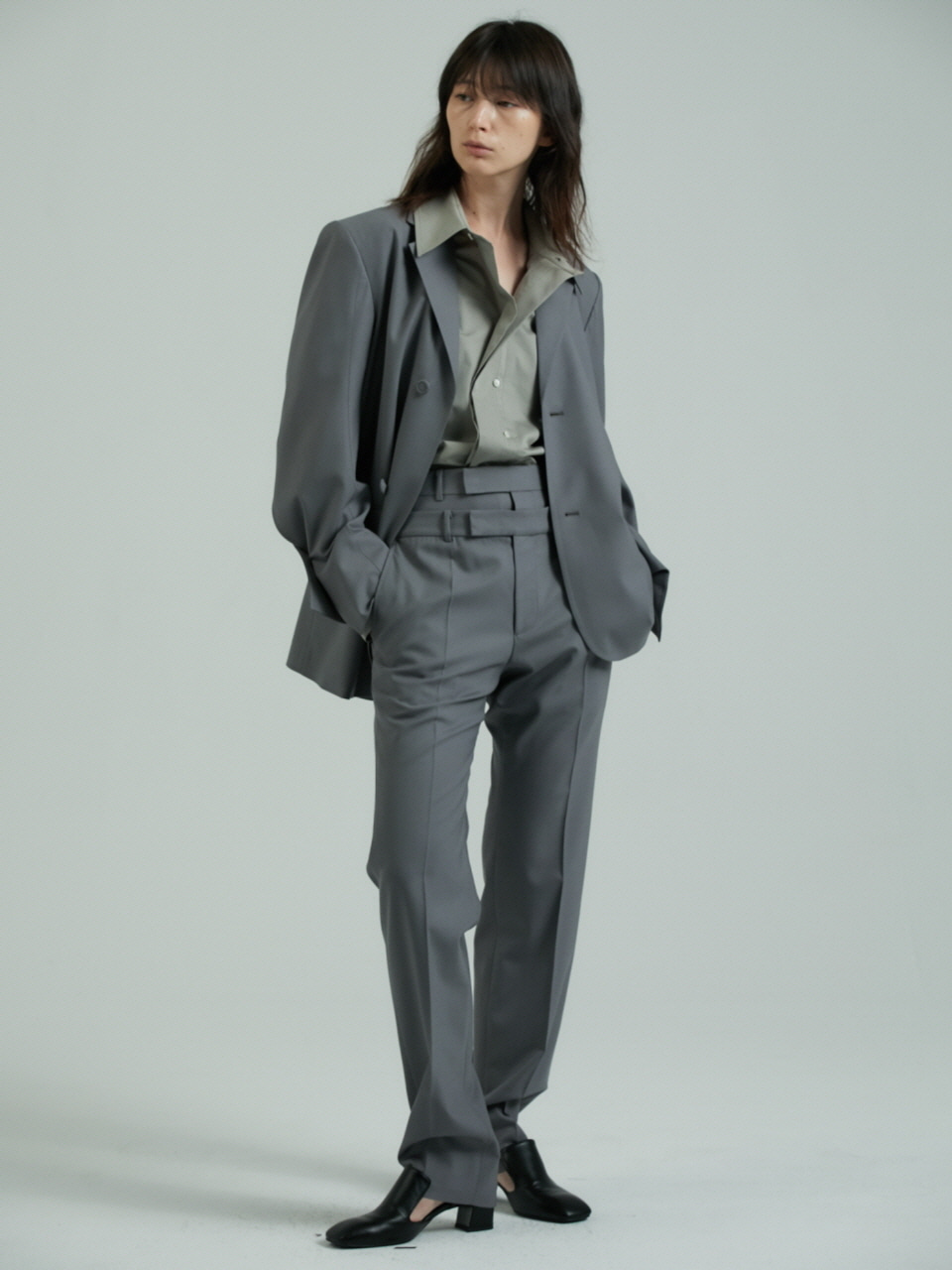 DOUBLE WAIST TROUSERS - GREY