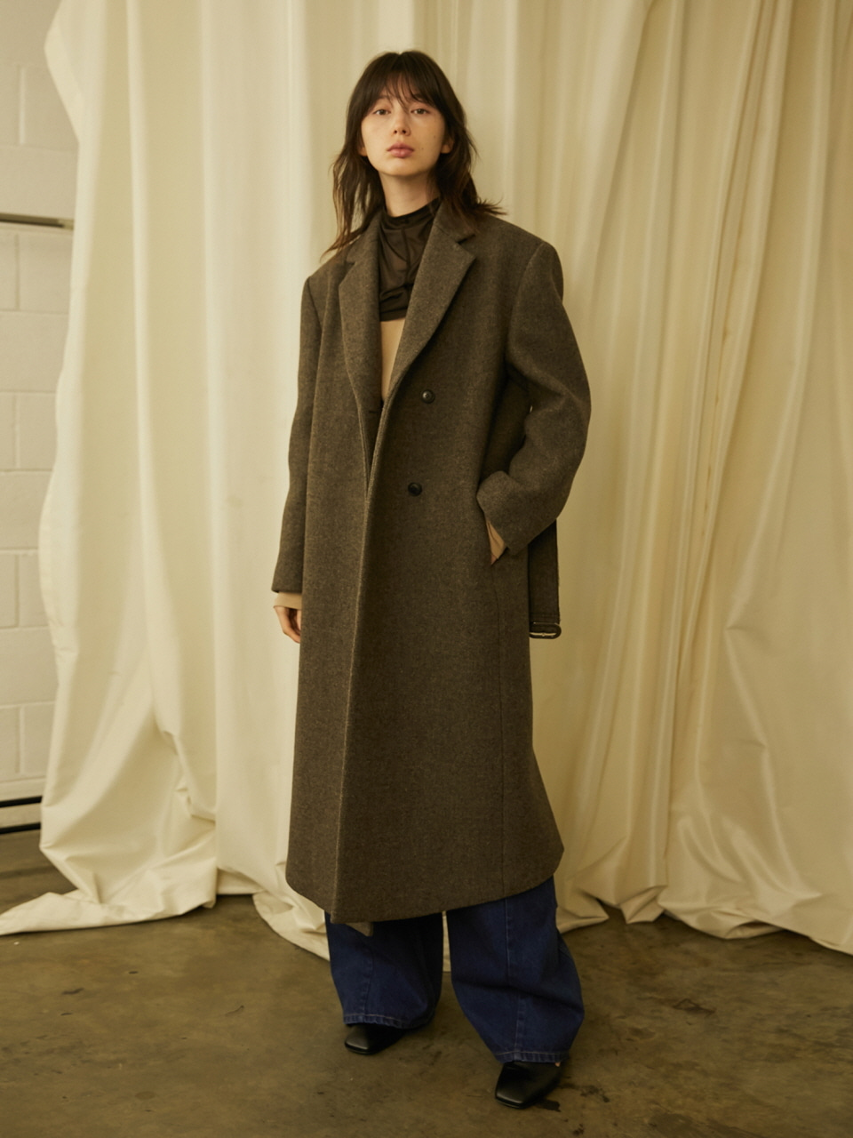 MEN'S MAXI COAT - HERRING BONE BROWN