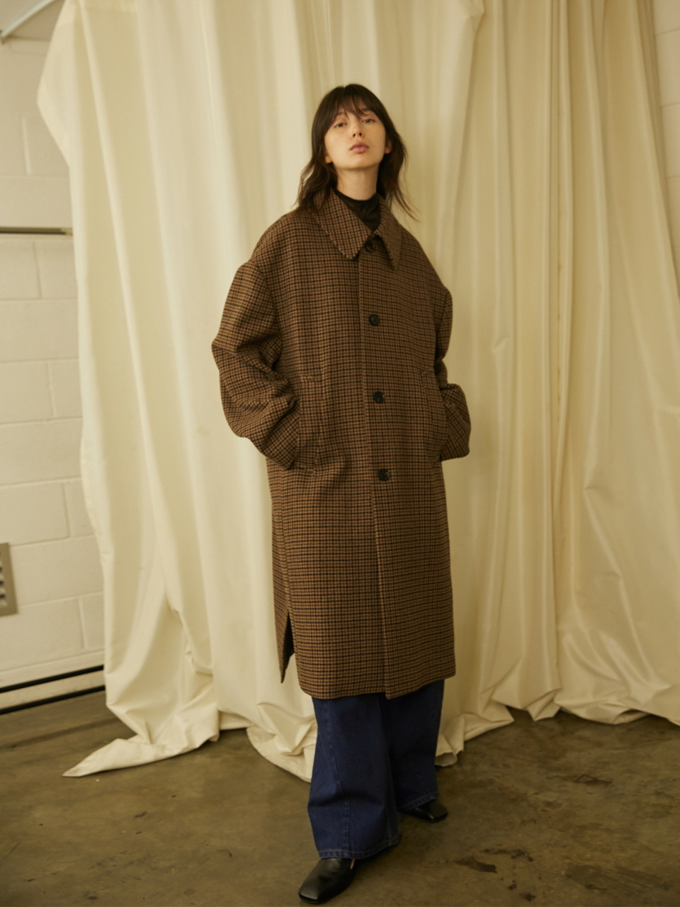OVERSIZED CHECK COAT - BROWN CHECK