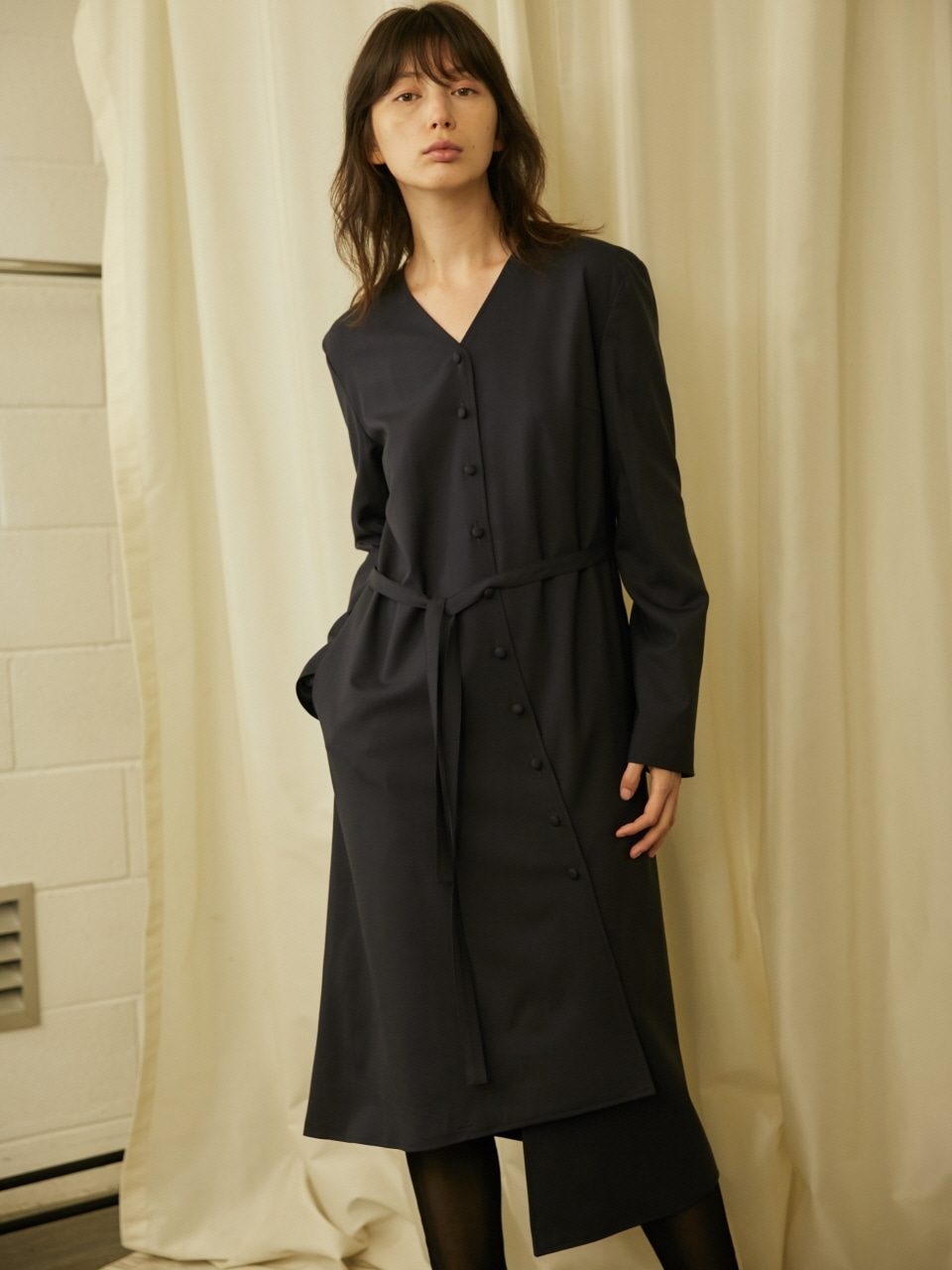 UNEVEN CUT COAT DRESS - DARK NAVY