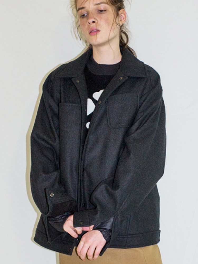 [UNISEX]OVERSIZED WOOL BLOUSON - CHARCOAL