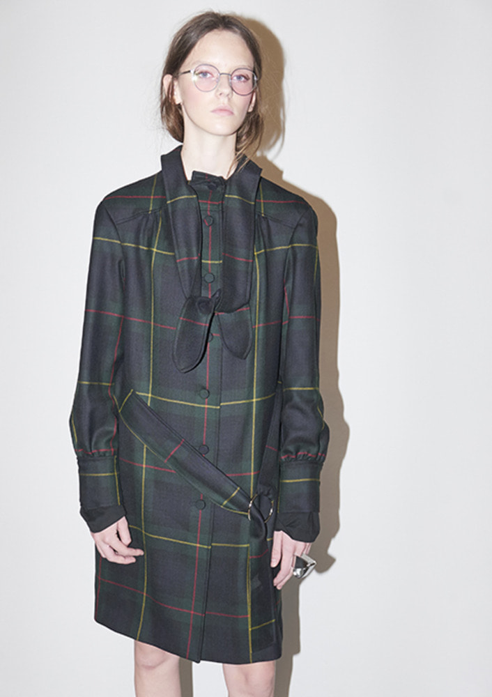 TIED TRENCH COAT - GREEN CHECK