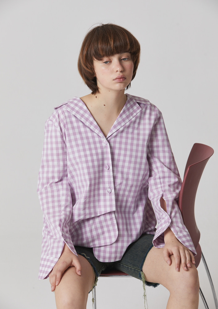 UNEVEN GINGHAM CHECK BLOUSE - LAVENDER