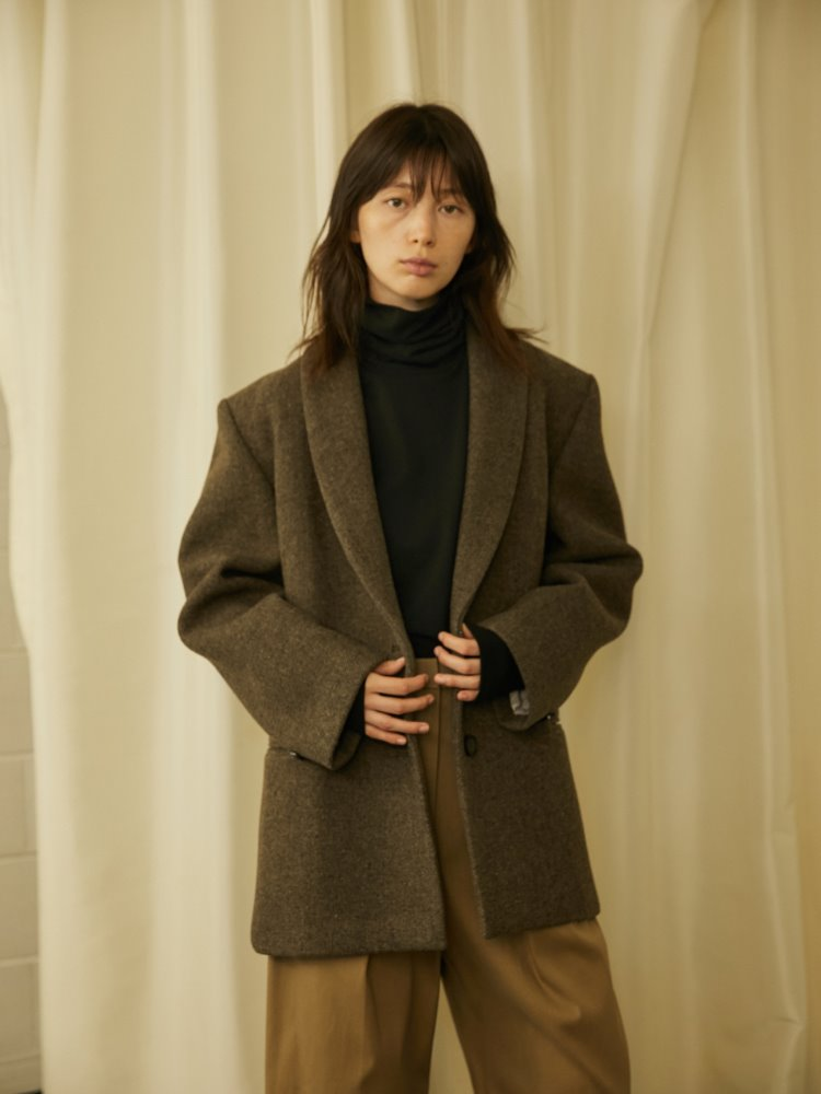 SHAWL COLLAR HALF COAT - HERRINGBONE BROWN